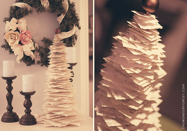 christmas tree made from cut book pages