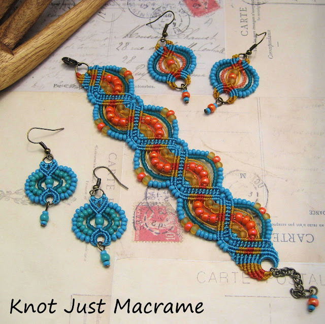 Beaded macrame jewelry by Sherri Stokey - earrings and bracelet