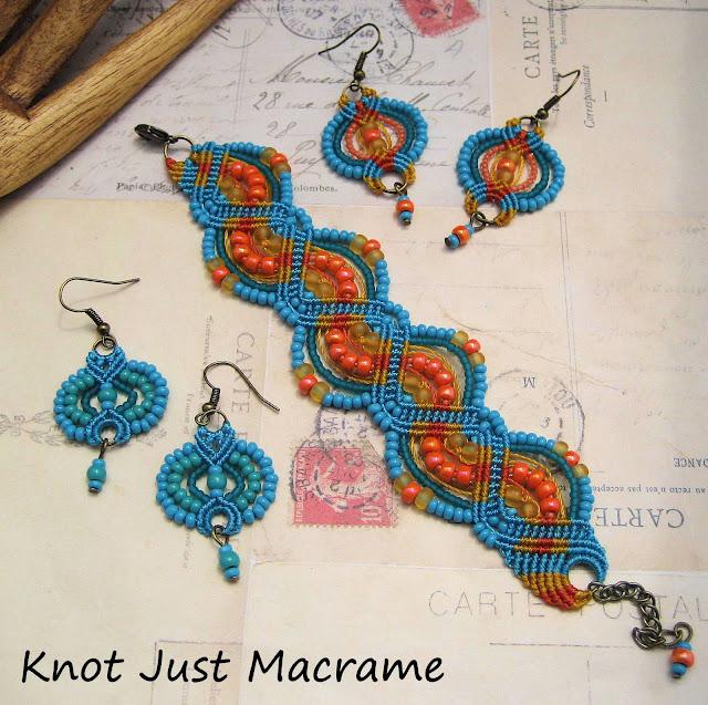 Beaded macrame jewelry by Sherri Stokey - earrings and bracelet