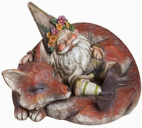 A Garden Statue Depicting A Smiling Gnome Relaxing Within The Curve Of A  Red Fox Sleeping Body. They Sleep Peacefully, Enjoying One Anotheru0027s  Company.