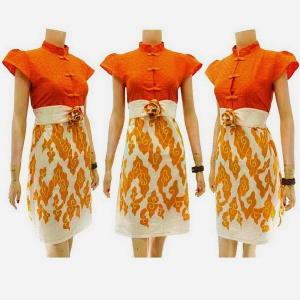 DB3726Mode Baju Dress Batik Modern Terbaru 2014
