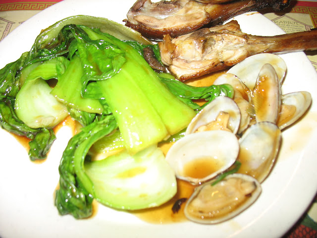 Two legs of Peking Duck, baby bok choy, and baby clams!