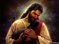 Jesus abraçando o cordeiro
