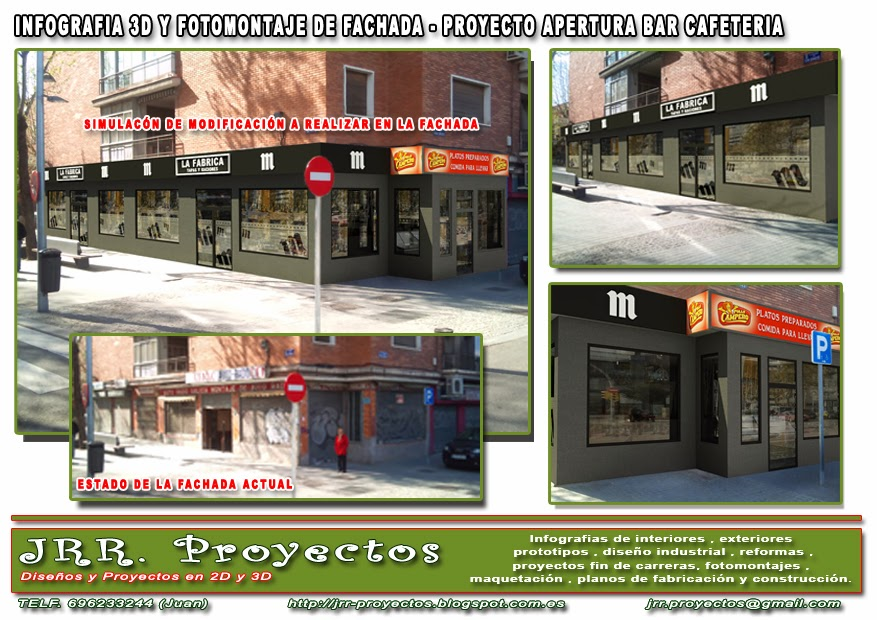 Jrr proyectos cafeteria interior y fachada - Proyecto bar cafeteria ...