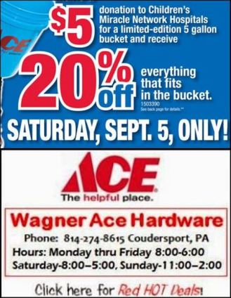 9-5 Saturday Only At Wagner Ace