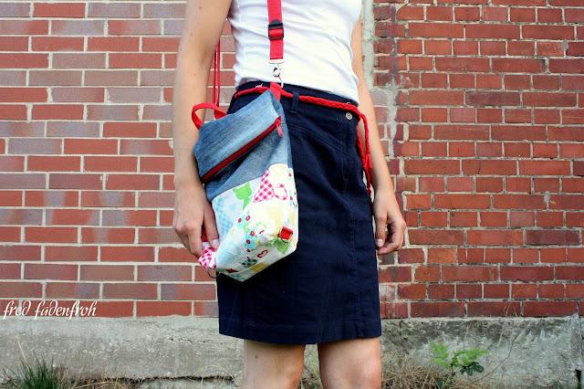 Freebook; Zwergsäckli; Zwergstücke; Jeans; Katzen; Umhängetasche