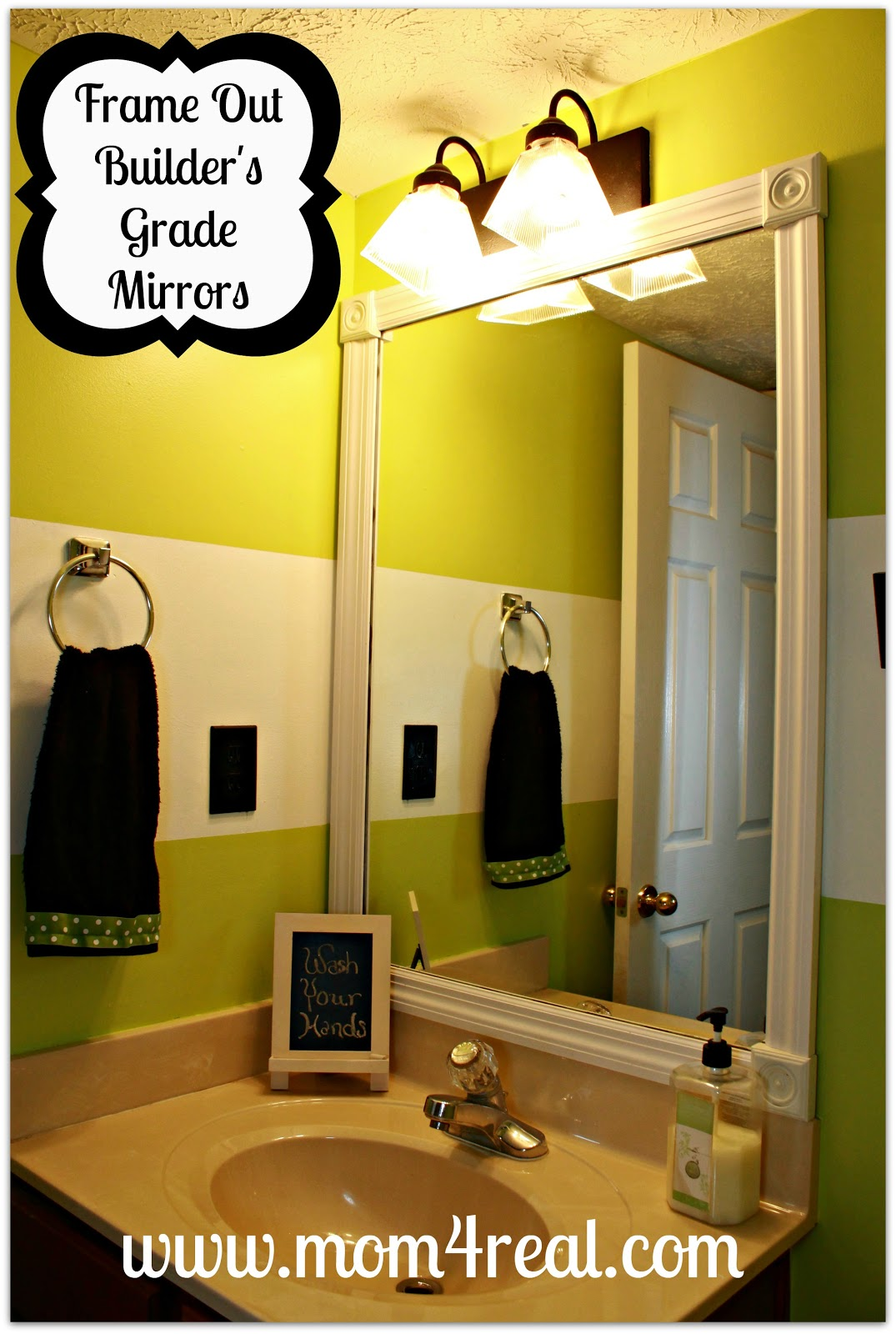 Frame Out Your Builder\'s Grade Mirror (Without Mitering) - Mom 4 Real