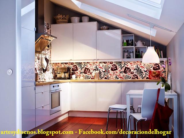 DECORACIÓN DE COCINAS PEQUEÑAS by artesydisenos.blogspot.com