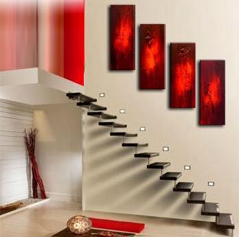 decoracion escaleras minimalistas rojo