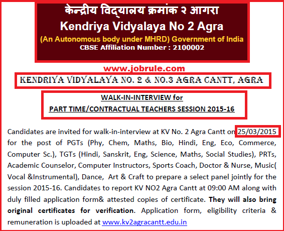 Kendriya Vidyalaya No-2 Agra (KV Agra-2) Latest Part Time/Contractual Teachers Jobs Advertisement March 2015