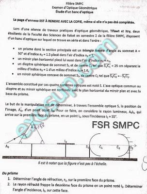 Correction Contrôle Final d'optique géométrique SMPC S2 FSR
