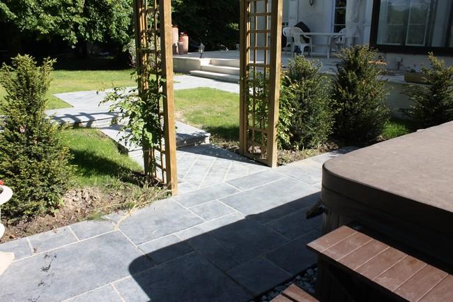 Terrasse Et Allee En Pierre Naturelle Paysagiste Val D 39 Oise Cr Ation Jardin 95