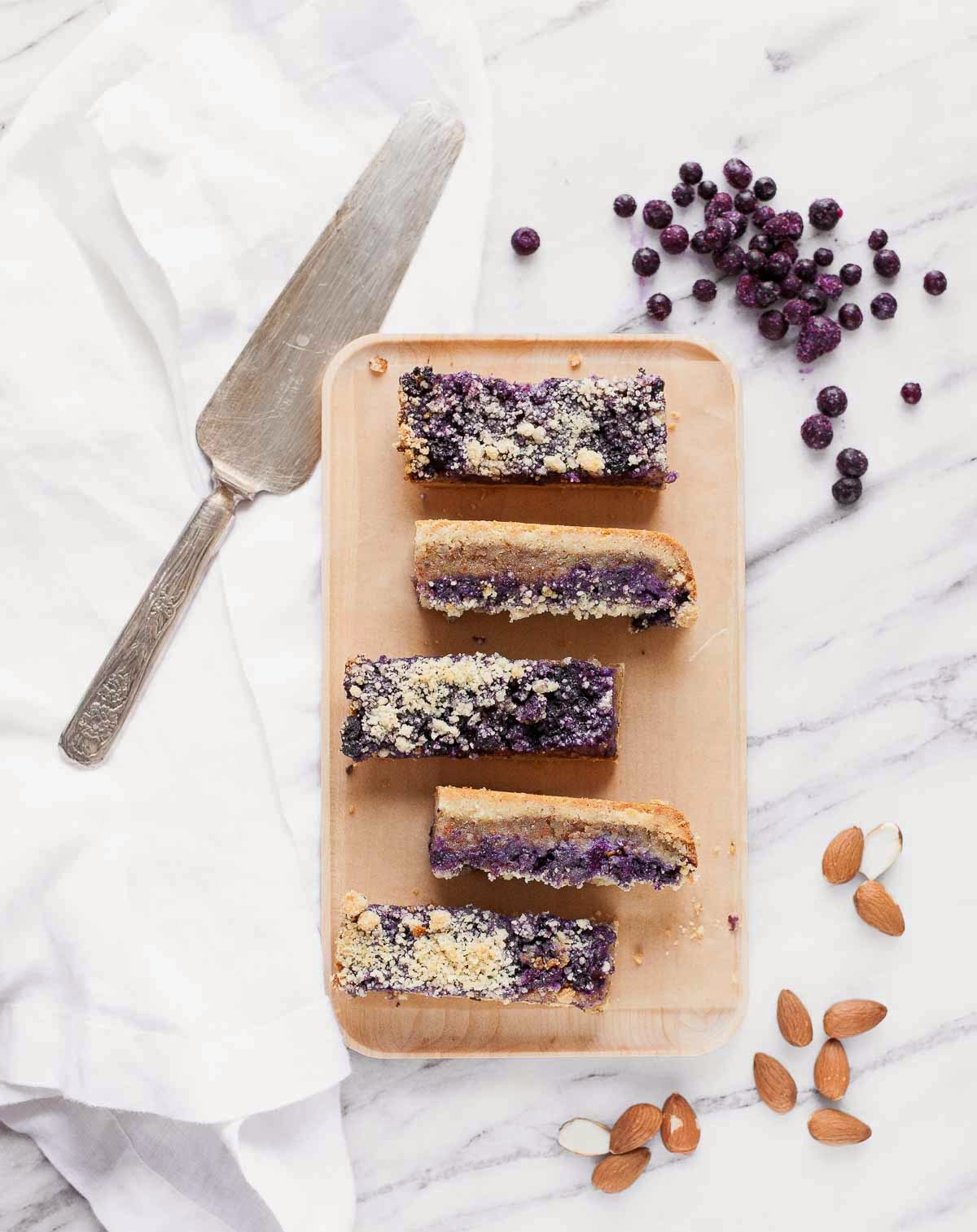 Blueberry Frangipane Pie Bars (Grain-free) | acalculatedwhisk.com