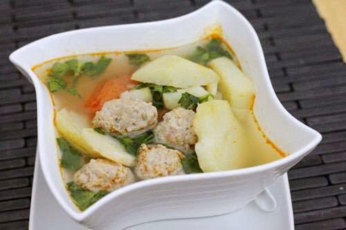Potato Soup with Meat Balls Recipes - Canh Khoai Tây Thịt Viên