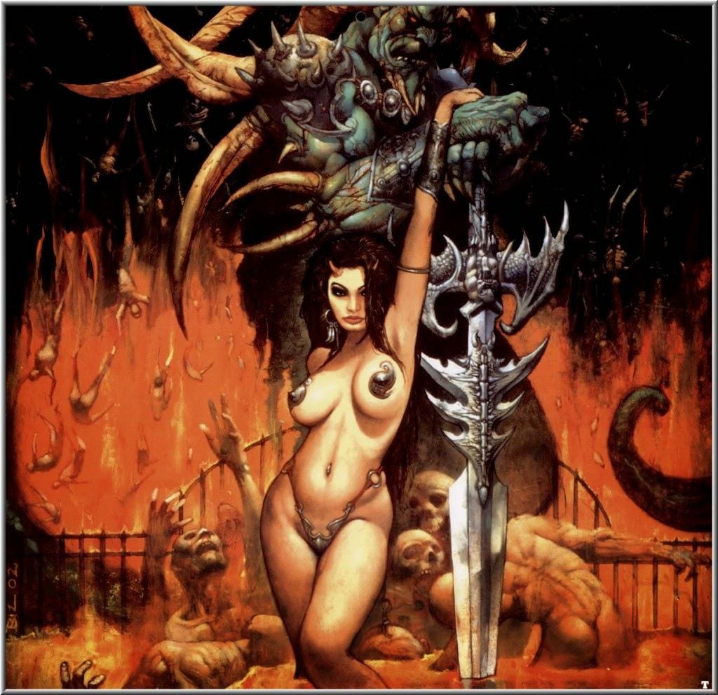 Dessin de Simon Bisley représentant une jeune femme très sexy acroché au bras d'un guerrier monstrueux s'appuyant sur une glaive immense
