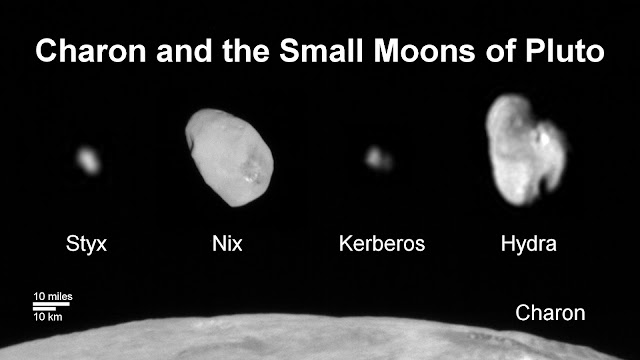 This composite image shows a sliver of Pluto's large moon, Charon, and all four of Pluto's small moons, as resolved by the Long Range Reconnaissance Imager (LORRI) on the New Horizons spacecraft. All the moons are displayed with a common intensity stretch and spatial scale (see scale bar). Charon is by far the largest of Pluto's moons, with a diameter of 751 miles (1,212 kilometers). Nix and Hydra have comparable sizes, approximately 25 miles (40 kilometers) across in their longest dimension above. Kerberos and Styx are much smaller and have comparable sizes, roughly 6-7 miles (10-12 kilometers) across in their longest dimension. All four small moons have highly elongated shapes, a characteristic thought to be typical of small bodies in the Kuiper Belt. Image credit: NASA/Johns Hopkins University Applied Physics Laboratory/Southwest Research Institute