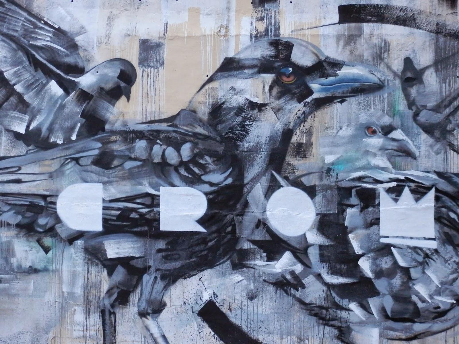 Crow street art in Malta