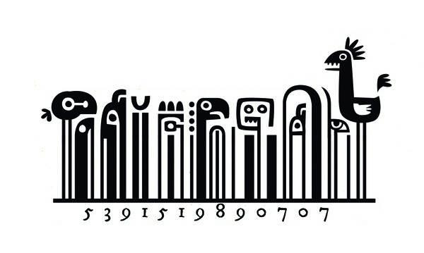 barcodes bentuk kartun ayam