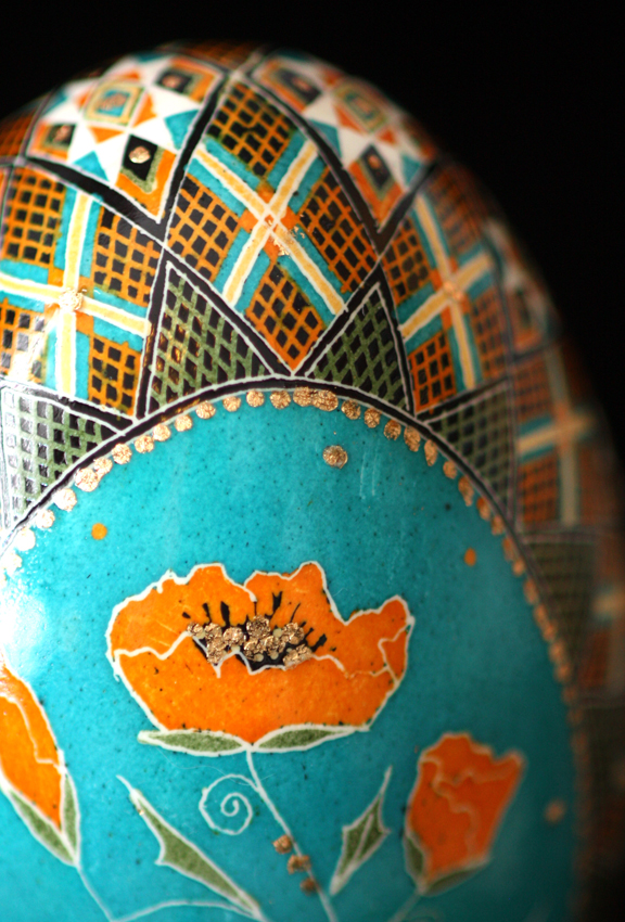 California Golden Poppy Traditional Style Pysanky on Turquoise Background