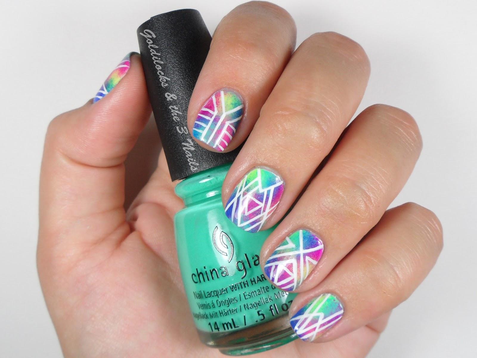 Goldilocks The Three Nails Tie Dye Gradient Geometric Nail Art