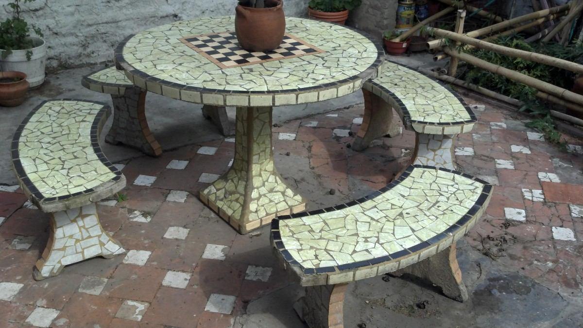 Mesa de jardin de piedra conjunto mesa comedor jardin de for Bancos de granito para jardin