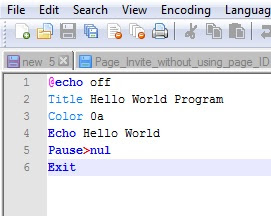 Hello World Batch Program