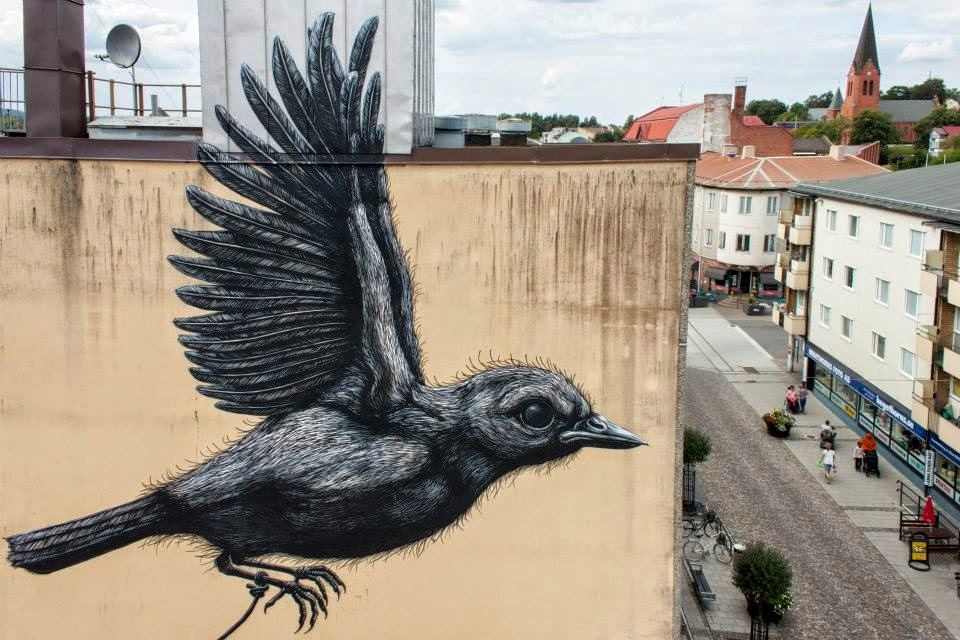 While we last heard from him in Bromölla a few days ago, ROA has now landed in Nässjö, Sweden where he just finished working on this new piece.