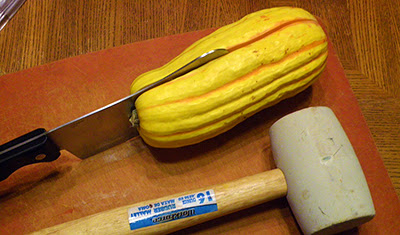Demonstration of Cutting Squash in Half