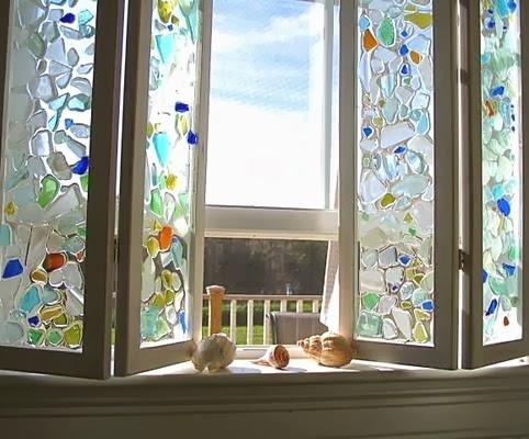 glue sea glass to window