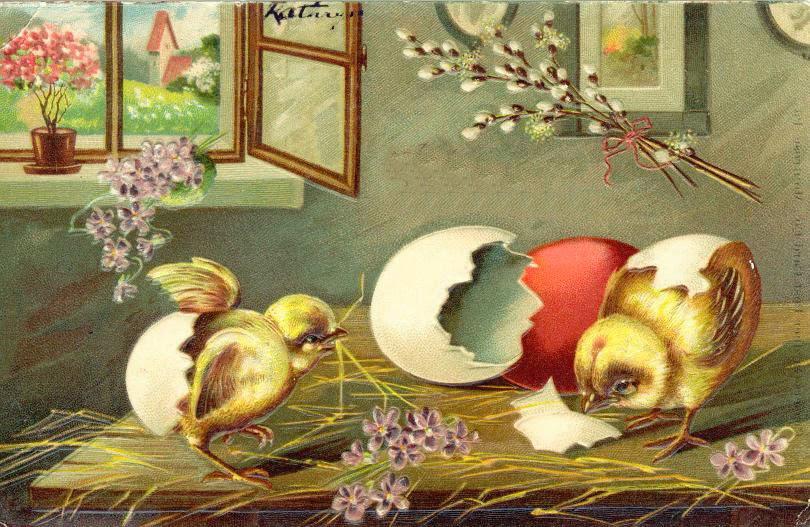 Пасха.  Винтажные открытки и изображения (310 картинок) .