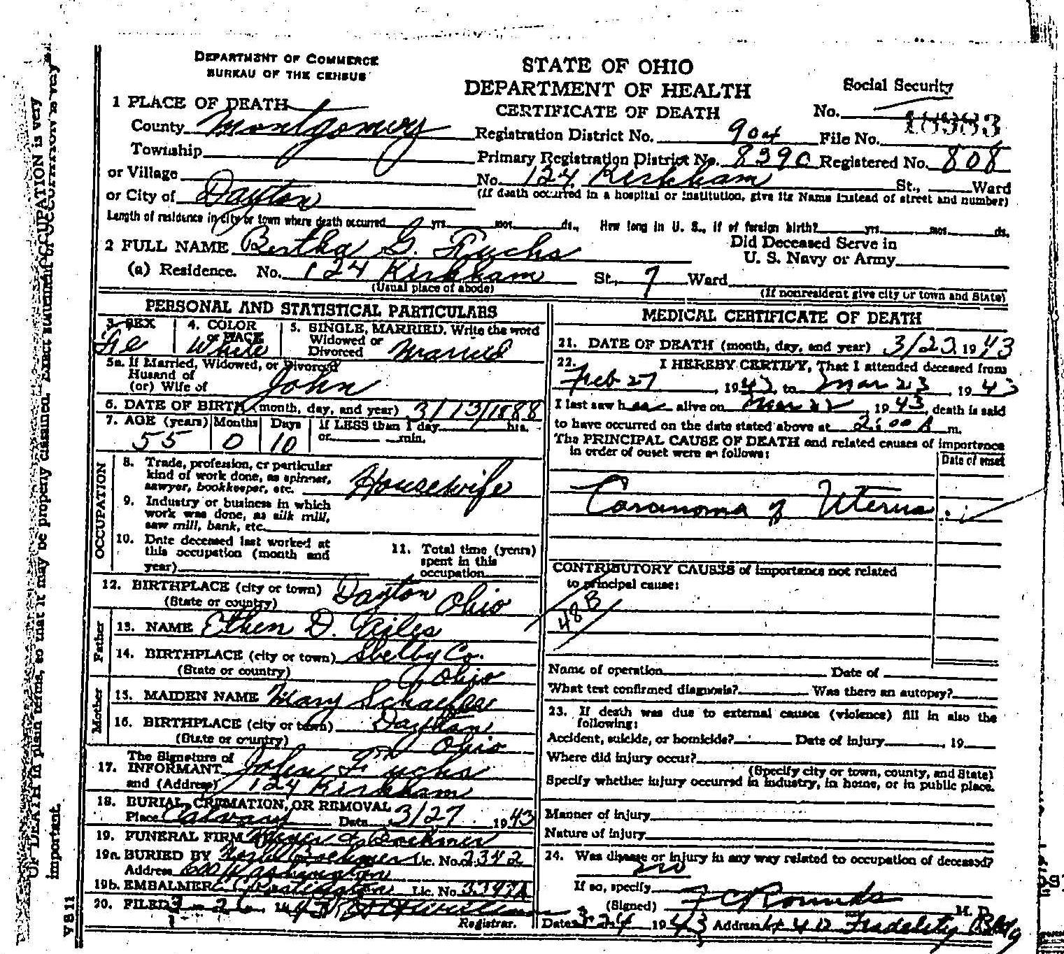 Death Record Bertha G Fuchs 1943 Montgomery County Ohio Tjl