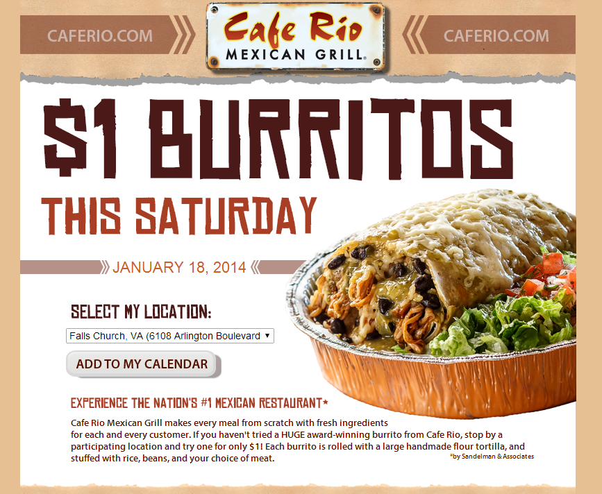 Cafe Rio Buy One Get One