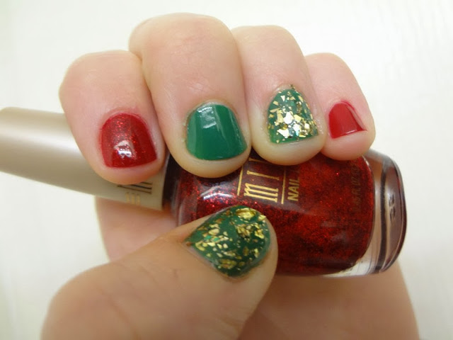 aka Bailey, Christmas nails, Milani Ruby Jewels, green, gold, nail polish