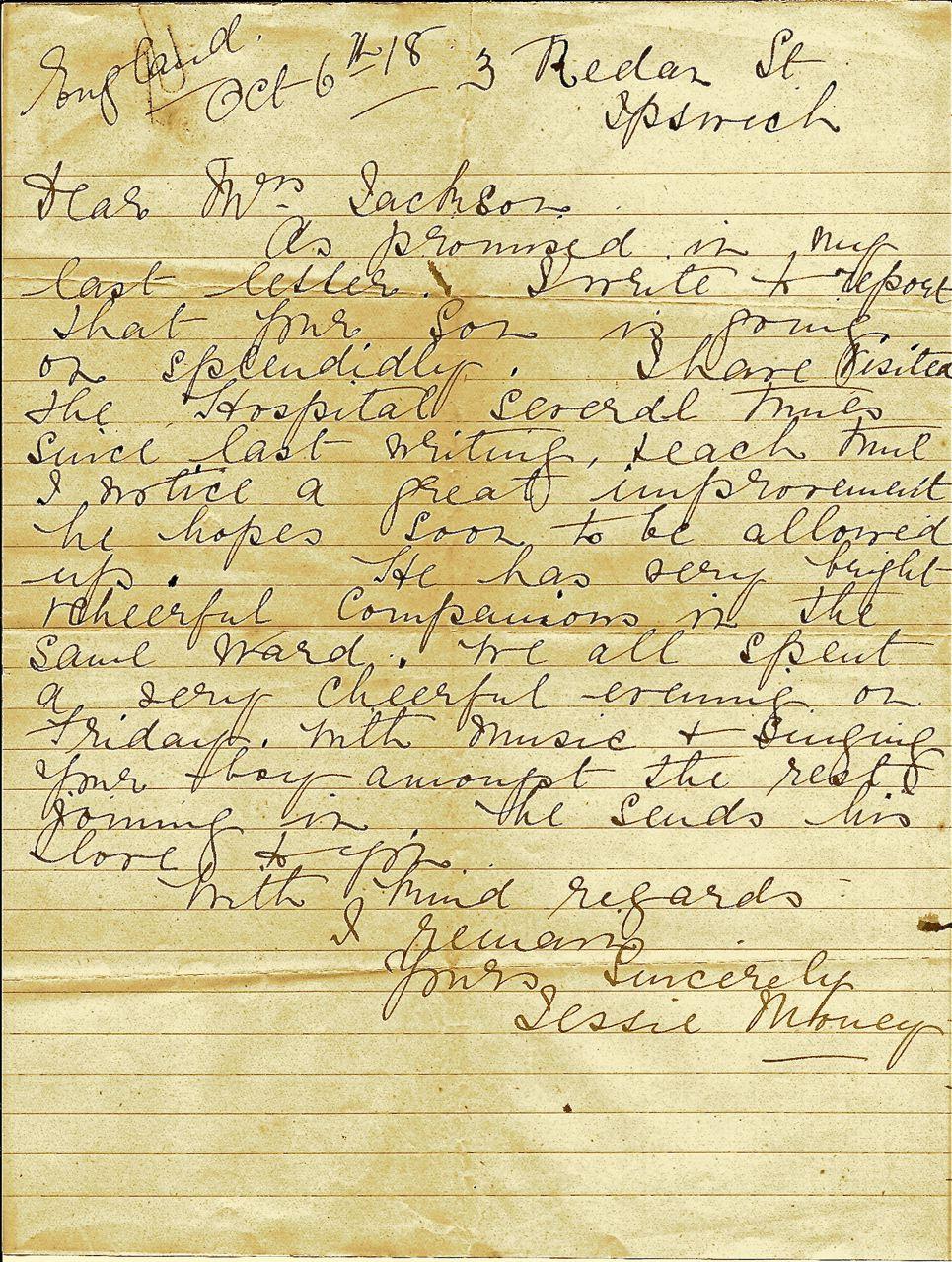world war i letter