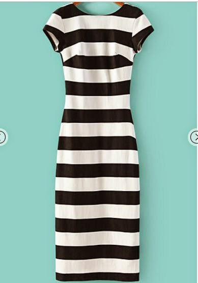 Monochrome Striped Short Sleeve Backless Dress