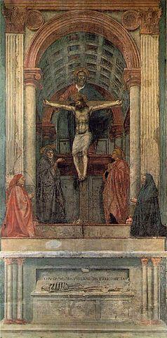 «Masaccio trinity» de Masaccio - Web Gallery of Art:  Image Info about artwork. Disponible bajo la licencia Dominio público vía Wikimedia Commons - http://commons.wikimedia.org/wiki/File:Masaccio_trinity.jpg#/media/File:Masaccio_trinity.jpg