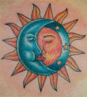 Tattoo art sun and moon tattoos for Half moon and star tattoo