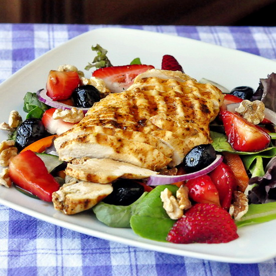 Strawberry Balsamic Walnut Salad with Grilled Lime Cumin Chicken