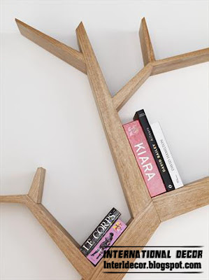 Interior Decor Idea: Modern wall shelves in tree branches styles 2013