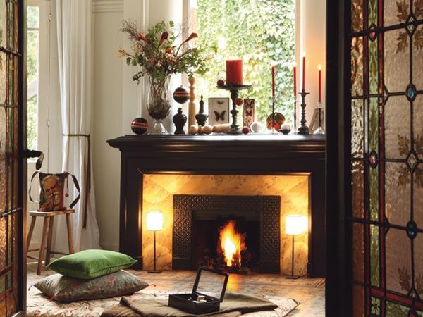 Christmas Fireplace Decoration Homebase : Fireplace mantel home decoration idea in christmas