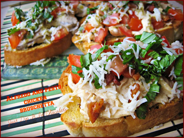 Alfredo and Pesto Chicken Bruschetta Recipe, this classic Italian Appetizer is made with leftover chicken and bread. Create and entire new delicious dish by just adding a few fresh ingredients and Bacon