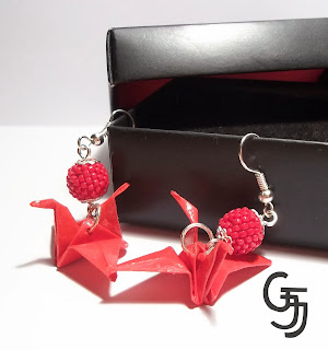 beaded ball origami earring
