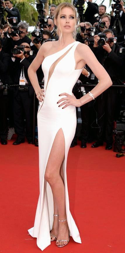 68º Festival Filme de Cannes - Doutzen Kroes  com um Versace branco