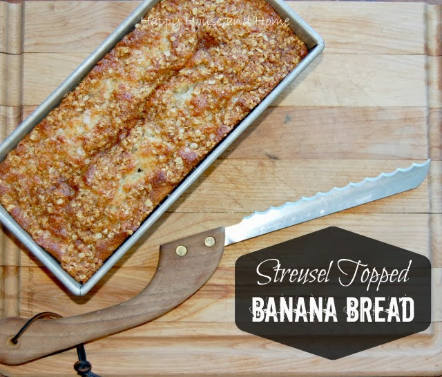 Streusel Topped Banana Bread via Happy House and Home