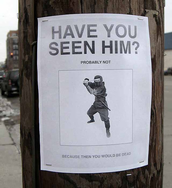 funny sign - have you seen ninja