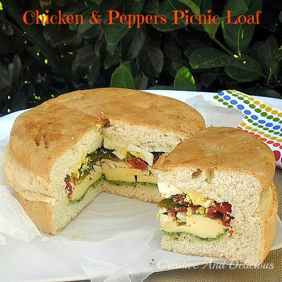 Chicken and Peppers Picnic Loaf ~ Make ahead the previous night for picnics, lunch or a late lunch/early dinner - packed with goodies ! #Sandwiches #StuffedBread