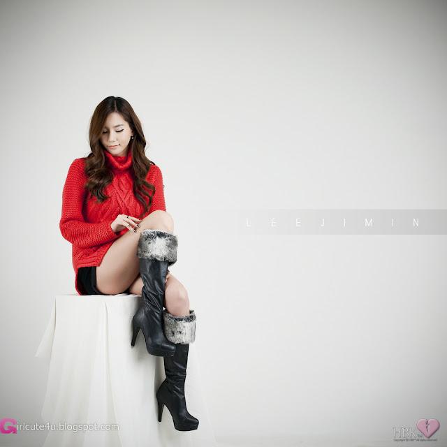 2 Lee Ji Min in Sweet Red-Very cute asian girl - girlcute4u.blogspot.com