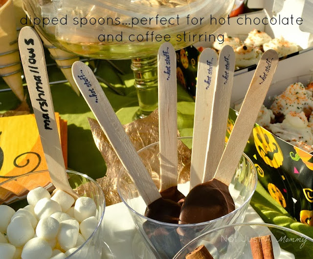 pumpkin patch tailgating party dipped chocolate spoons