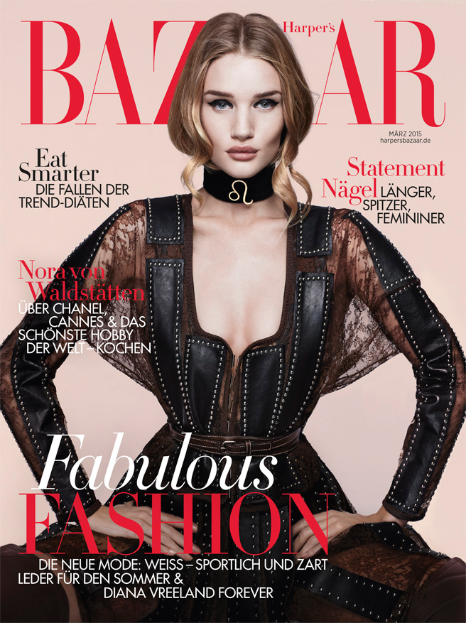 Actress, Fashion Model: Rosie Huntington-Whiteley by Anthony Maule for Harper's Bazaar Germany