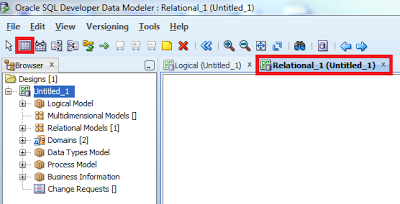 data modeler relational tab